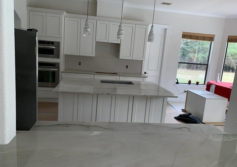 Newly installed granite kitchen countertops.