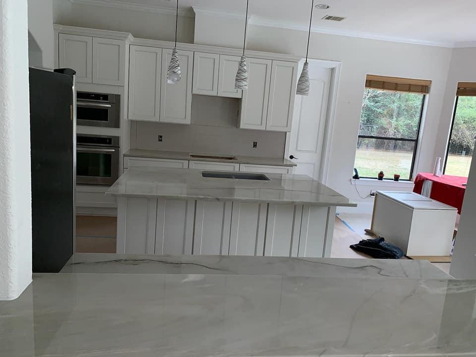 Freshly installed granite counter tops.