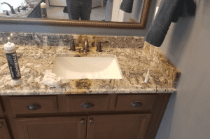 Custom Bathroom Counters - Beautiful custom brown granite bathroom countertop