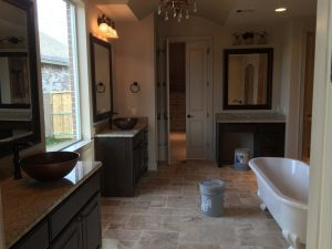 Custom Bathroom Counters - separate counter space for his and hers bathroom vanity with custom granite counters
