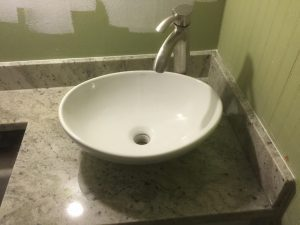 Custom Bathroom Counters - floating basin sink with custom granite counters