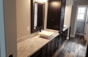 Custom Bathroom Counters - Elegant custom quarts bathroom counter