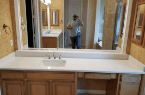 Custom Bathroom Counters - large spacious custom quarts bathroom counter