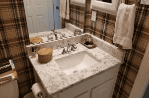 Custom Bathroom Counters - beautiful guest bath granite counter