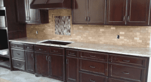 Custom kitchen counters - custom marble counters with a tile back splash