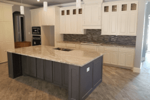 Custom kitchen counters - upscale custom kitchen showing custom granite countertops