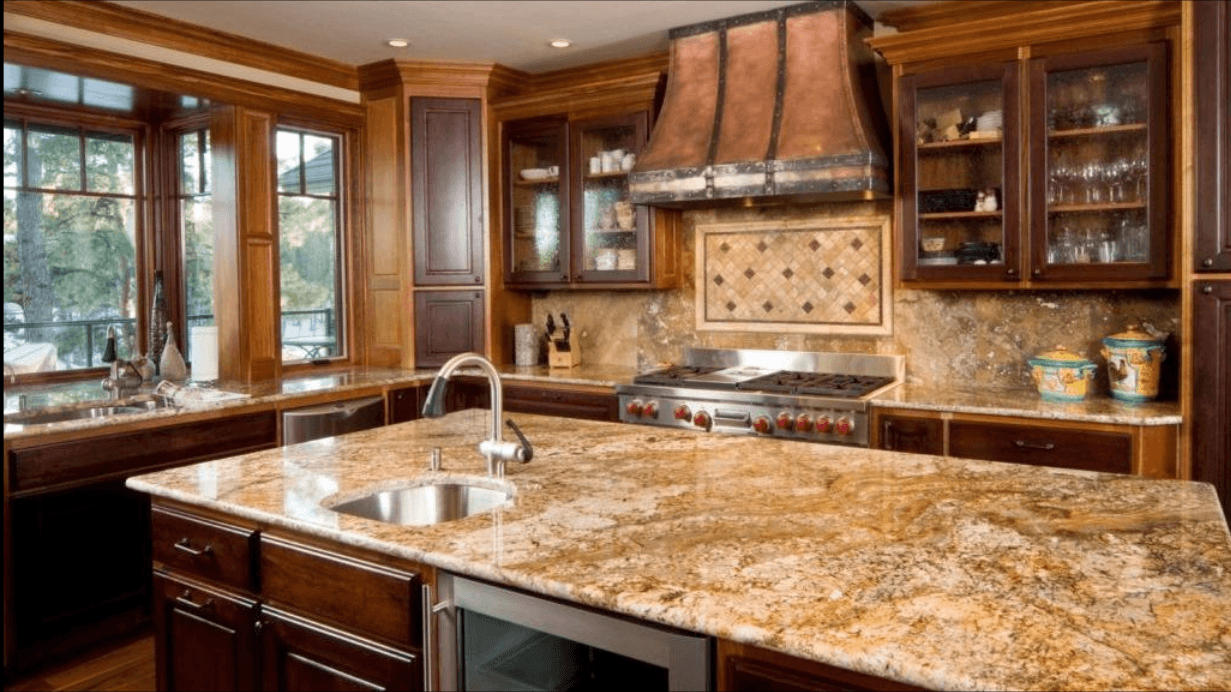 Granite countertops newly installed in a kitchen.