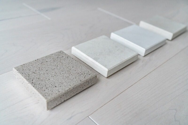 Engineered quartz countertop samples