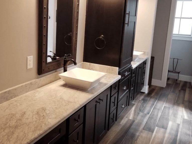 Custom Bathroom Counters - Elegant custom quarts bathroom counter