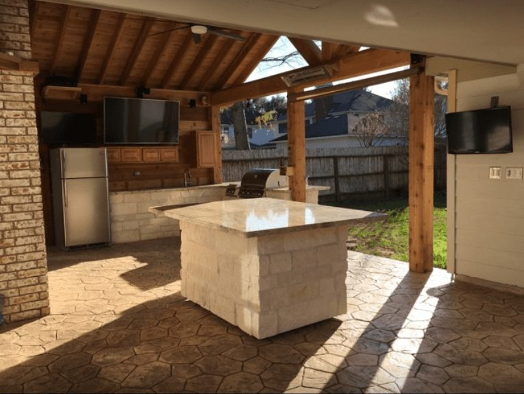 Custom outdoor kitchen counters fabricated and installed by King's Granite & Marble